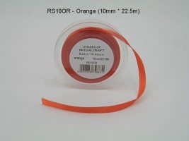 RS10OR  10 MM X 22.5 METRES SATIN RIBBON IN ORANGE - IF QUANTITY IS MORE THAN 10 ROLLS PAY 85P A ROLL