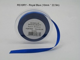 RS10RY  10 MM X 22.5 METRES SATIN RIBBON IN ROYAL BLUE- IF QUANTITY IS MORE THAN 10 PAY 85P A ROLL