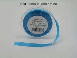 RS10T  10 MM X 22.5 METRES SATIN RIBBON IN TURQUOISE- IF QUANTITY IS MORE THAN 10 PAY 85P A ROLL