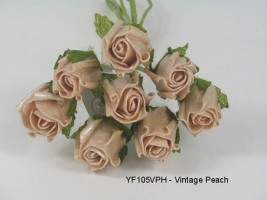 YF105VPH  8 x 3 CM ROSEBUD IN VINTAGE PEACH PEARLISED COLOURFAST FOAM