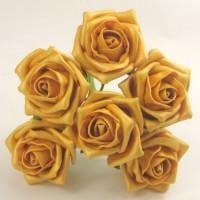 YF106AG   6 x 6 CM OPEN ROSE IN DARK GOLD PEARLISED COLOURFAST FOAM