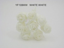 YF109W  SPARKLE ROSEBUDS IN ALL WHITE COLOURFAST FOAM