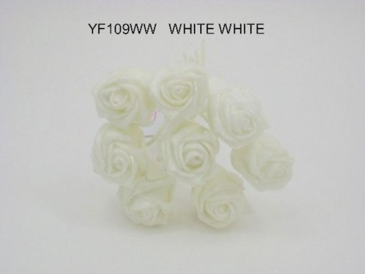 YF109W  SPARKLE ROSEBUDS IN ALL WHITE COLOURFAST FOAM