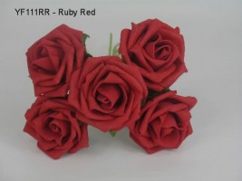 YF111RR  OPEN ROSES IN RUBY RED COLOURFAST FOAM
