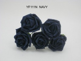 YF111N  OPEN ROSES IN NAVY COLOURFAST FOAM