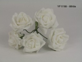 YF111W  OPEN ROSES IN WHITE COLOURFAST FOAM