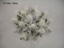 YF115W  Medium Shimmer Sparkle Posy in White