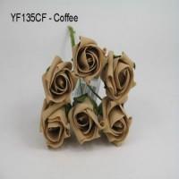 YF135CF  6 ROSEBUDS IN COFFEE COLOURFAST FOAM - TO CLEAR