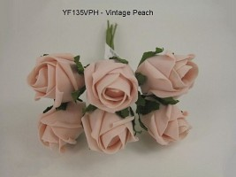 YF135VPH  JUBILEE ROSEBUD IN VINTAGE PEACH COLOURFAST FOAM