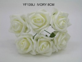 YF139LI - OPEN ROSE IN IVORY COLOURFAST FOAM