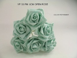 YF139PM - OPEN ROSE IN PEPPERMINT COLOURFAST FOAM