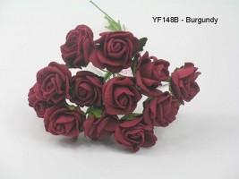 YF148B MINI TEA ROSE IN BURGANDY