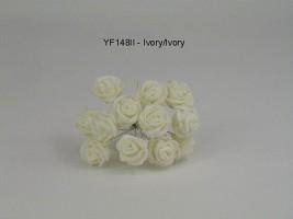 YF148II  MINI TEA ROSE IN ALL IVORY