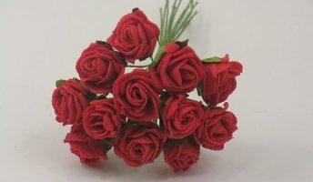 YF148RR  MINI TEA ROSE IN RUBY RED