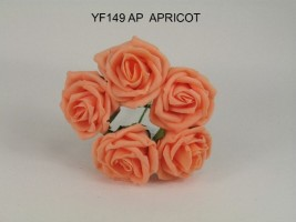 YF149AP  5 x 5 CM OPEN ROSE IN APRICOT COLOURFAST FOAM- BUY 36 BUNCHES PAY 85P A BUNCH