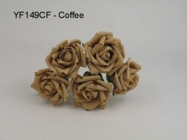YF149CF  OPEN ROSE IN COFFEE COLOURFAST FOAM- TO CLEAR