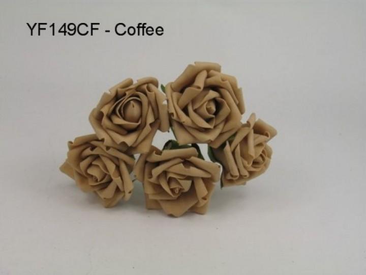 YF149CF  OPEN ROSE IN COFFEE COLOURFAST FOAM- TO CLEAR