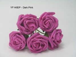 YF149DP OPEN ROSE IN DARK PINK COLOURFAST FOAM- BUY 36 BUNCHES PAY 85P A BUNCH