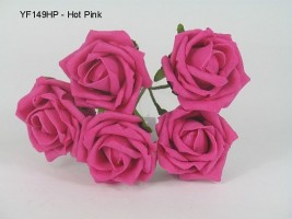 YF149HP 5 X 5 CM OPEN  ROSE IN HOT PINK COLOURFAST FOAM - BUY 36 BUNCHES PAY 85P A BUNCH