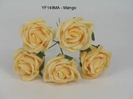 "YF149MA - 5 x 2"" 5 CM OPEN ROSE IN MANGO - TO CLEAR"
