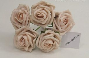YF149MP - 5 x 5 CM OPEN ROSE IN MOCHA PINK COLOURFAST FOAM- BUY 60 BUNCHES AND PAY ONLY 90P A BUNCH