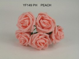 YF149PH  OPEN ROSE IN PEACH COLOURFAST FOAM-  BUY 36 PAY 85P A BUNCH