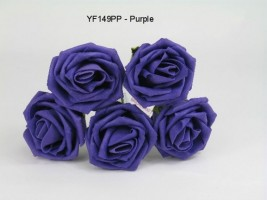 YF149PP OPEN ROSE IN PURPLE COLOURFAST FOAM- BUY 36 BUNCHES PAY 90P A BUNCH