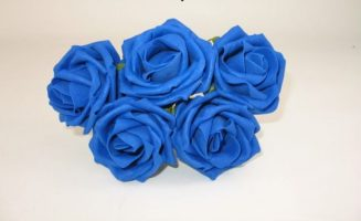 YF149RY - OPEN ROSE IN ROYAL BLUE COLOURFAST FOAM- BUY 36 BUNCHES PAY ONLY 85P A BUNCH
