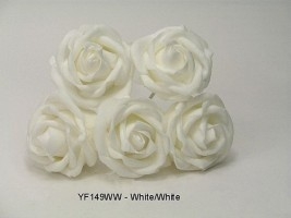 YF149WW  OPEN ROSE IN ALL WHITE COLOURFAST FOAM- BUY 36 BUNCHES PAY ONLY 90P A BUNCH