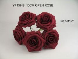 YF159B  OPEN ROSES IN BURGANDY COLOURFAST FOAM
