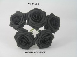 YF159BL  OPEN ROSE IN BLACK COLOURFAST FOAM