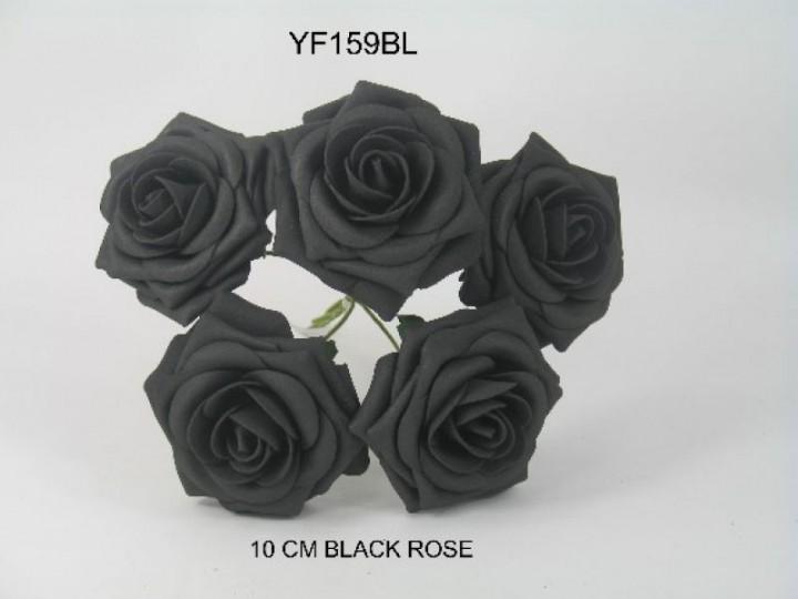 YF159BL  OPEN ROSE IN BLACK COLOURFAST FOAM
