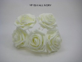 YF159II   OPEN ROSE IN ALL IVORY COLOURFAST FOAM