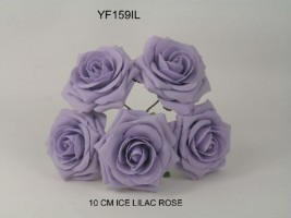 YF159IL  OPEN ROSE IN ICED LILAC COLOURFAST FOAM