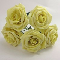 YF159LE  OPEN ROSE IN LEMON COLOURFAST FOAM