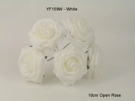YF159W  OPEN ROSE IN WHITE COLOURFAST FOAM