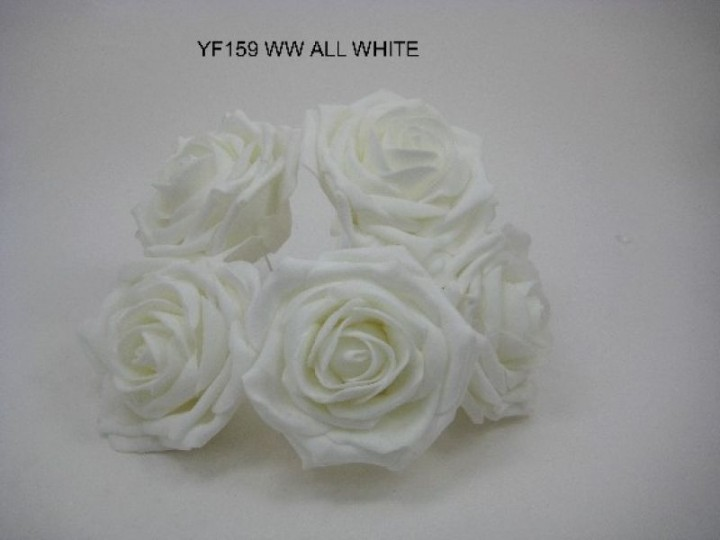 YF159WW OPEN ROSE IN ALL WHITE COLOURFAST FOAM