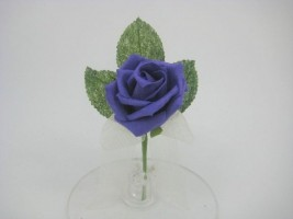 YF169PP   COTTAGE ROSE BUTTONHOLE/ CORSAGE IN PURPLE COLOURFAST FOAM- BUY 24 PCS PAY ONLY 50P EACH