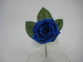 YF169RY  COTTAGE ROSE BUTTONHOLE/CORSAGE IN ROYAL BLUE COLOURFAST FOAM- BUY 24 PCS PAY ONLY 50P EACH