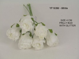YFG163W   6 x 4 CM FRILLY ROSE BUD IN WHITE WITH GLITTER