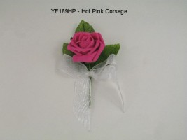 YF169HP  COTTAGE ROSE BUTTONHOLE/CORSAGE IN HOT PINK COLOURFAST FOAM- BUY 24PCS PAY ONLY 50P EACH