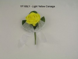 YF169LY  COTTAGE ROSE BUTTONHOLE/CORSAGE IN LIGHT YELLOW COLOURFAST FOAM- BUY 24 PCS PAY ONLY 50P EACH