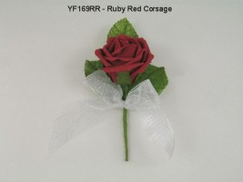 YF169RR   COTTAGE ROSE BUTTONHOLE/CORSAGE IN RUBY RED COLOURFAST FOAM- BUY 24 PCS PAY ONLY 50P EACH