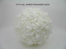 YF171WW  25 CM ALL WHITE POMANDER