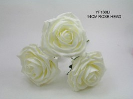 YF180LI  LARGE OPEN ROSE IN IVORY COLOURFAST FOAM