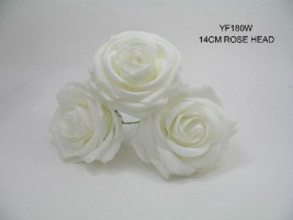 YF180W LARGE OPEN ROSE IN WHITE COLOURFAST FOAM