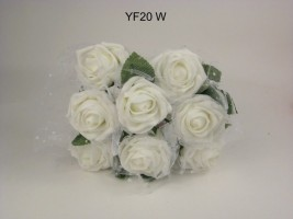YF20W  OPEN WHITE ROSES WITH WHITE GEORGETTE NETTING