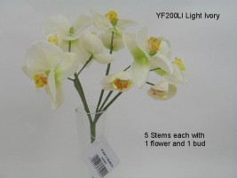 YF200LI  BUNCH OF FIVE ORCHIDS IN IVORY - TO CLEAR