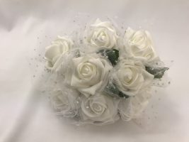 YF20 Large 8cm Open Roses with Spotted Georgette Netting