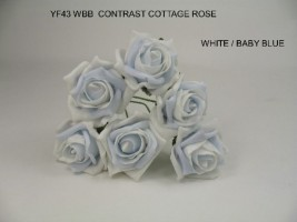 YF43WBB - 6 Contrast Cottage Rose in White and Baby Blue Colourfast foam by Bridalcraft